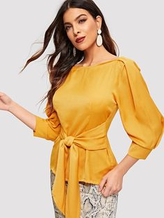 To find out about the Pleated Sleeve Knot Front Blouse at SHEIN, part of our latest Blouses ready to shop online today! Spring Blouses, Spring Shirts, Corsage, Blouse Online, Black Blouse, Shirt Blouses, Blouse Designs, Glamour, Fashion Outfits