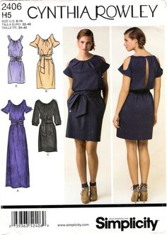 Simplicity 2406 Misses' Dress in Three Lengths with Sleeve Variations