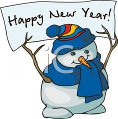 Snowman Holding Happy New Year Sign