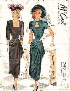 Vintage 1940s Dress Sewing Pattern  McCall by ThePatternSource