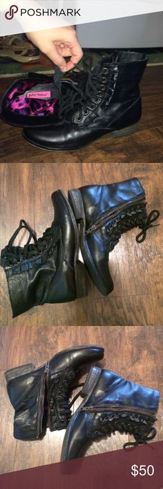 Betsey Johnson black boots with zipper & lace-up These boots are to die for! 💖💖💖 The size has been worn off or I just can't find it but I measured them and they're an 8. I think they run a tad small, though. Beautiful boots! I just wish they fit me 😩 no major scuffs or wearing of leather. Mint condition. Adorable. Ready to ship! 😊 Betsey Johnson Shoes Lace Up Boots