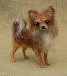 Needle felted miniature dog, custom portrait, pose-able wool sculpture, memorial