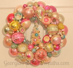 In Love with these by Georgia Peachez Image of Pink Dreams Vintage Shiny & Brite Ornament Wreath - 15 diameter Vintage Christmas Crafts, Shabby Chic Christmas, Retro Christmas, Rustic Christmas, Holiday Crafts, Christmas Holidays, Christmas Boxes, Christmas Door, Christmas Stuff