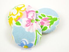 3 floral vintage fabric buttons 1 1/8 28mm by CocoFlowerCraft
