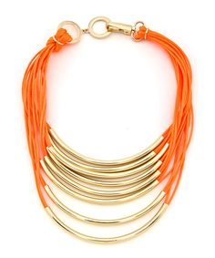 Neon Glow Necklace - Neon Orange and Gold by COB & PEN