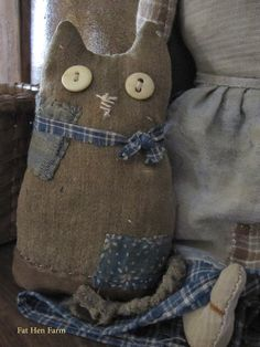Earlywork- Fat Hen Farm Primitive Folk Art, Primitive Crafts, Handmade Toys, Handmade Crafts, Black Cat Art, Monster Dolls, Felt Cat, Cat Doll, Country Crafts