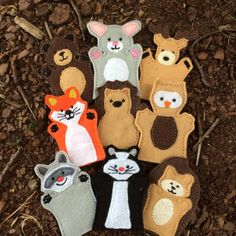 You are looking at a full woodland finger puppet set. This is a set of 9 puppets - a bear, bunny, deer, fox, hedgehog, owl, raccoon, skunk, and