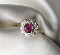 Sparkle! Antique Ruby and Diamond Daisy Ring, Platinum and Gold from jeanpapinantiquejewelry on Ruby Lane