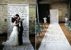 personalized runner if they renew vows maybe put footprints of all the family.   Gold on white.