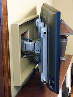Do you want to mount a flat screen TV on the wall? Here's one way to hide the wires and mounting hardware. @ Home DIY Remodeling Home Organization, House Design, House, Home Projects, Home, New Homes, Mount Flat Screen Tv, Home Diy, Home And Living