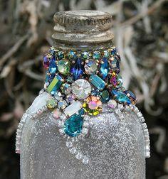 Bejewelled Rhinestones Vintage Bottle  by ASoulfulJourney on Etsy, $130.00