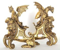 Unusual Pair XXL Bronze fireplace Andirons Dragon Lion 19thc french gothic rare Fireplace Hearth, Fireplaces, Gothic, Lion Sculpture, Bronze, French, Statue, Louis Xvi, Antiques