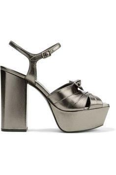 6fdcd5e7091 Saint Laurent - Farrah bow-embellished metallic leather platform sandals