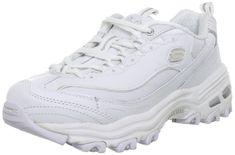 Skechers Sport Women's D'Lites Lace-Up Sneaker, White/Silver,5 M US