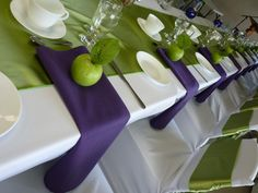 Tablescape with white linens, spring green runner, purple napkins and green apple place card holders Wedding Favor Table, Wedding Reception Decorations, Enchanted Forest Prom, White Napkins, White Linens, Green Tablecloth, Banquet Tables, Table Centers, Wedding Images