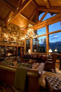 Mountain Home Great Room. Amazing Windows with spectacular view! Warm Cozy. Leather sofas fit perfectly!