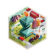"Illustrations for the business game ""Sigma industrial"" by Olga Baranova, via Behance"
