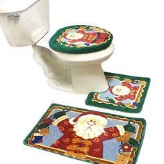 $99.00 New 3pcs Santa Christmas Bathroom Rug Mat Contour set (doz. in a BOX)  From Crover