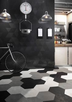 13 inch porcelain hexagon tile for walls and floors.  Several colors available.  Stocked!