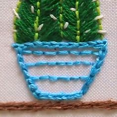 CACTUS EMBROIDERY - Learn - Cute little cactuses to embroider on cushions, bags or anywhere you like! The Effective Pictures We - Cactus Embroidery, Hand Embroidery Videos, Hand Embroidery Flowers, Embroidery Stitches Tutorial, Creative Embroidery, Simple Embroidery, Learn Embroidery, Crewel Embroidery, Hand Embroidery Patterns