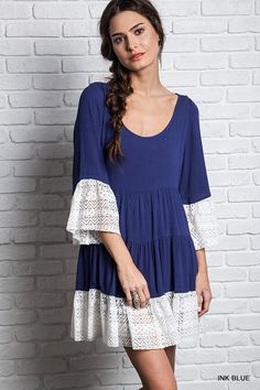 Lace Bell Sleeved Peasant Dress