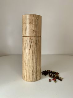 Feature Pepper/Salt grinder handcrafted in Western Australian from beautiful Spalted Maple timber. Simple modern design, comfortable in hand when using.