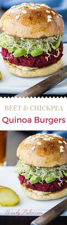These Beet and Chickpea Quinoa Burgers are an amazing veggie burger that even meat eaters will love! #vegetarian #veggieburger #plantbased #plantstrong #quinoa #beets #wendybpolisi
