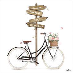 Don't know where I'm going, but I'm on my way. Bicycle Painting, Bicycle Art, Bike, Girly Drawings, Art Drawings, Cute Illustration, Doodle Art, Art Sketches, Cute Art