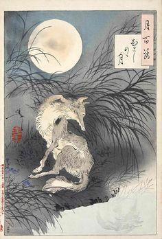 """""""The moon on Musashi plain"""" by Tsukioka Yoshitoshi 月岡芳年 (1839-1892) - also known as Taiso Yoshitoshi 大蘇芳年."""