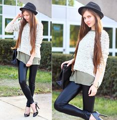 Grey Sweater With Studded Shoulders, Black Pumps, Black Elegant Bag, Frontrowshop Army Green T Shirt, Mohito Black Hat, Terranova Black Leather Leggings
