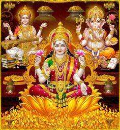 """Shri Lakshmi Devi, Saraswati Devi, Shri Ganesh ॐ """" Shiva Hindu, Shiva Art, Shiva Shakti, Hindu Deities, Durga Images, Lakshmi Images, Ganesh Images, Shri Hanuman, Shri Ganesh"""