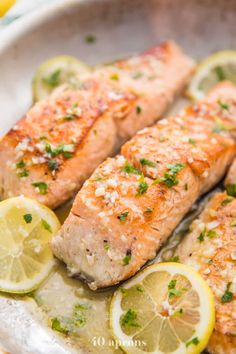 This lemon garlic salmon is out-of-this-world delicious. With only a few ingredients, it's easy and quick to make this healthy pan seared salmon. paleo, low carb, and keto, the lemon garlic butter sauce sauce and this salmon recipe is good enough Short Recipes, Easy Fish Recipes, Dinner Recipes Easy Quick, Whole 30 Recipes, Quick Easy Meals, Healthy Dinner Recipes, Paleo Recipes, Cooking Recipes, It's Easy
