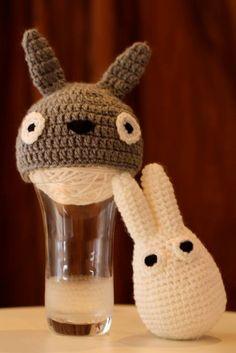 Gray Totoro Hat Set with White Totoro Stuffed Toy by 2catsandyarn, $45.00