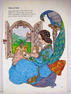 Childrens Decor Art, Vintage Nursery Rhyme Art