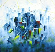 oil on canvas, abstract painting about a lot of gifts by Lubosh Valenta Art Oil, Surrealism, Oil On Canvas, Fantasy, Abstract, City, Gallery, Artist, Painting