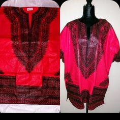 Dashiki Shirt, Cover Up, Unisex, Red, Etsy, Shirts, Shopping, Black, Dresses