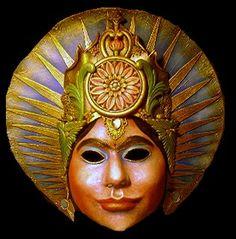 Mask of the Goddess Saraswati - Hindu Goddess of the arts, philosophy, learning, and self knowledge by Lauren Raine