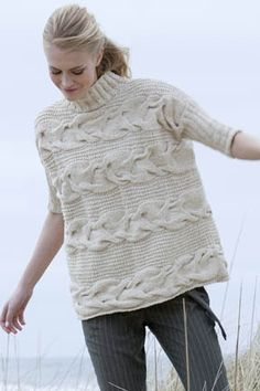 Georgica Cabled Pullover in Tara Tweed