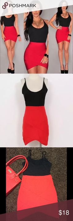 """❗️New❗️Red & Black Irregular Mini Dress New in package-adjustable spaghetti straps-thin & fitted❗️See last pic for item details❗️Bust: 15"""" (laying flat) 21"""" (max stretch)-33"""" length (top of shoulder strap down to bottom of hem) Boutique Dresses Mini"""