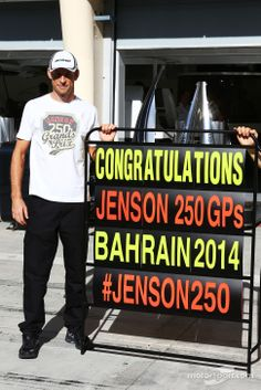 Jenson Button celebrating his 250th race - 2014 Bahrein GP