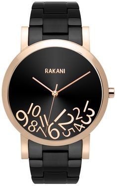 RAKANI What Time? - Rose Gold on Black Watch