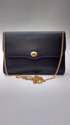 45aff19a172 DIOR Christian Dior Vintage Navy Leather Shoulder  Crossbody Bag. French  designer purse