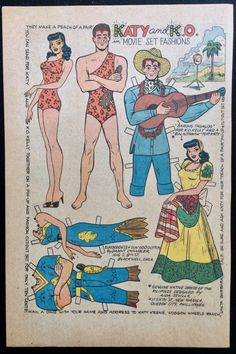 Here's one of those great comic book paper doll pages of Katy Keene by Bill Woggon. This is a Katy Movie set Fashions Starring with K.O. paper doll, probably from the late 50's. Except for a little aging, it's in good condition. | eBay!