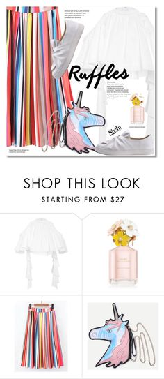 """""""Add Some Flair: Ruffled Tops"""" by svijetlana ❤ liked on Polyvore featuring E L L E R Y, Marc Jacobs, shein and ruffledtops"""