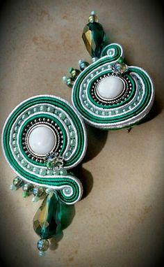 Green soutache earrings by KIMA