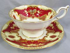 COALPORT-RICH-RED-GOLD-GILT-FLORAL-ORNATE-TEA-CUP-AND-SAUCER