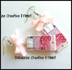 Orecchini 500€ idea regalo - euro - portafortuna, by Dolcezze creative.. il fimo!! , 6,00  su misshobby.com