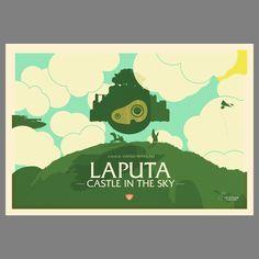 Studio Ghibli - Laputa Poster by Simon C Page