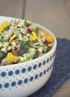 Pastasalat med broccoli og majs