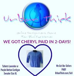 #SOLD - We got Cheryl #paid in just 2-days! #talbots #cardigansweater #lavendersweater #supercute #plussize #curvy #trendy #stylish #getpaid #tryusfofree #consignment #boutique #onlineshopping #shop #sell #makeextracash #passiveincome #itseasy #sweaters UrbanThick.com/Sell